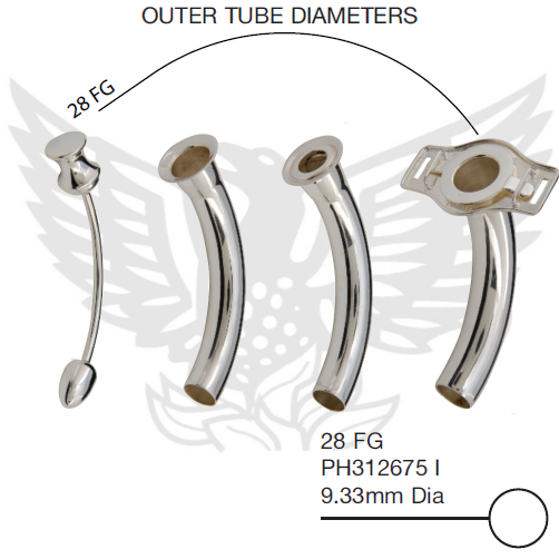 Negus Tracheostomy Tube 28FG Hand Made From Sterling Silver Consisting Of A Outer Tube - A Inner Tube With Speaking Valve - A Plain Inner Tube And Pilot 28 FG PH312675 I